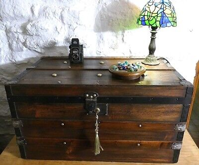 Stunning Polished Pine Vintage Banded Chest Steamer Trunk Coffee Table Lock&Key