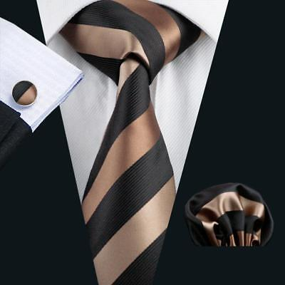 USA Classic Mens Tie Black Brown Striped Silk Necktie Set Hanky Cufflinks Formal