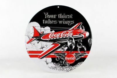 Coca-Cola Douglas DC-3 Button Embossed Tin Metal Sign - Airplane - Retro - COKE