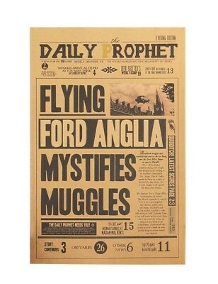 Harry Potter Flying Ford Vintage Poster Paper Wall Stickers Home Decor Placard