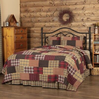3-pc Wyatt Quilt Set - Twin, King, California, Queen - Red, Khaki, Dark Brown