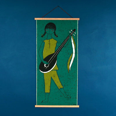 Vintage 1950s 60s HUGE Teal Girl With Guitar / Lute Fabric Wall Hanging Signed
