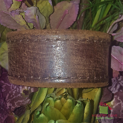 VTG Rugged Rustic Distressed Leather Bomber Jacket Cuff Bracelet Handcrafted