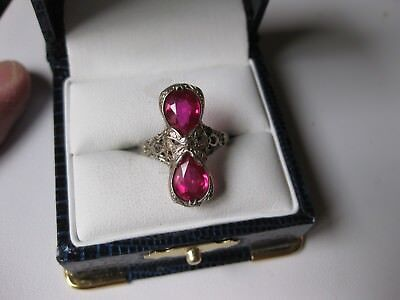 """ANTIQUE 14K WHITE GOLD FILIGREE RING """"BOW"""" with RUBIES,ART DECO, ca.1920's"""