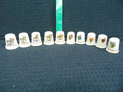 Thimbles Lot Of 10-5 W/carousel Horses & 5 W/flowers