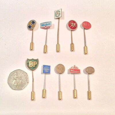 Lot Of 10x Vintage Stick Pins, Petrol/Oil Advertising, Mea,BP,Shell,Esso,&Others