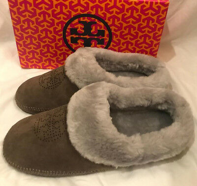 c434ce6b9e8 Tory Burch Coley Perforated Slippers Split Suede Shoes Elephant Gray Size 9  New