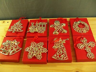 Set of 8 Lenox Sparkle & Scroll Clear Crystal Silverplate Ornaments New in Boxes