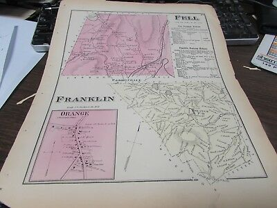 Antique - Fell And Franklin  Pa - 1873 Map  - Vg