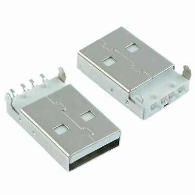 2 x USB Type A Vertical Male Plug Connector PCB - White
