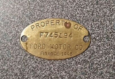 Vintage Old Brass Property Tag F745194: FORD MOTOR CO; Ford Finance 1448