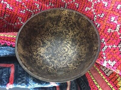 Old Chinese Black & Gold Metal Bowl …beautiful display / collection item