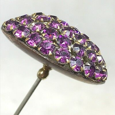 Antique Hat Pin. Vibrant, Oval Dome. Lovely,Purple Rhinestones. Beautiful&Grand!