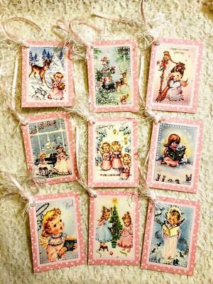 Set of 9 Hang Tags~Christmas~Vintage Angels~Gift Tags~Scrapbooks~Card's~#127R