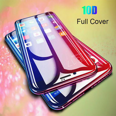 For iPhone X XS Max XR 7 8 10D Full Curved Tempered Glass Screen Protector Guard