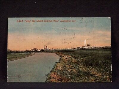 IN Hammond Along The Grand Calumet River 1913 Postcard