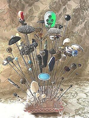 62 Estate Collection of Antique/Vintage/Costume Hat Pins.  Wide Variety!