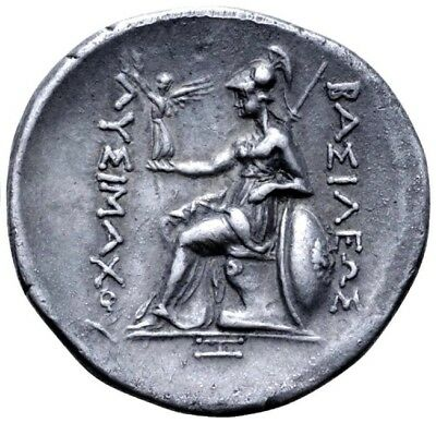 Lysimachos. Tetradrachm. Real Face of Alexander the Great. Greek Silver Coin.