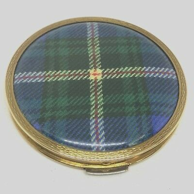 """Stratton Powder Compact. """"Tartan' Plaid Top. w/Sifter. Unused Great Collectible!"""