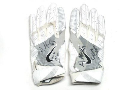 Andrew Adams 2017 New York Giants Game Worn & Signed White & Silver Nike Gloves
