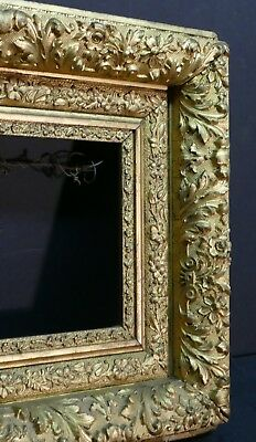 Magnificent Antique Baroque Intricately Ornate Lemon Gilded Museum Frame 14+ 7+