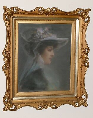 Magnificent Large Antique 1800's 3 Layer Gilded Ornate Frame w/ 19th c. Portrait