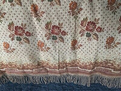 ANTIQUE 1930s VINTAGE TABLE COVER / THROW WOVEN JACQUARD, FRINGED TEXTILE