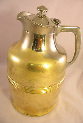 """American Thermos Bottle Co Brass & Silverplate 8"""" Thermos Pitcher Jug w/ Lid №42"""