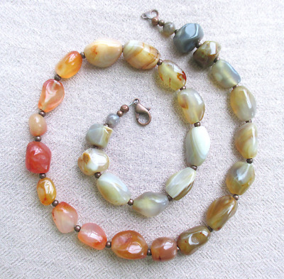 """Polished Chunky Natural Orange Carnelian Banded Agate 20"""" Necklace Copper Clasp"""