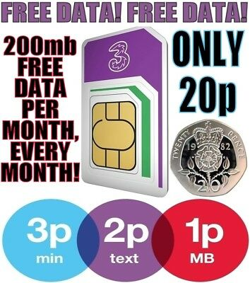 Three 3G 4G Pay As You Go PAYG Data Triple cut SIM Card 200MB FREE Every Month!!