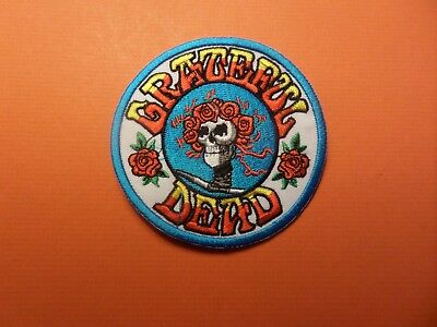 GRATEFUL DEAD red & blue  Embroidered 3-1/2 x 3-1/2 Iron On  Patch