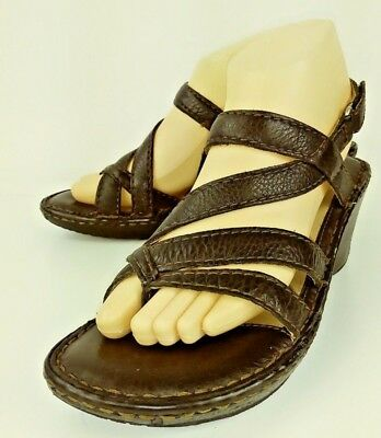 0edc91e49c8bdd Born W61566 Wos Wedge Sandals US 8 M Brown Leather Thong Ankle Strap Heels  501