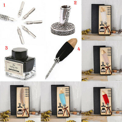Antique Vintage Quill Feather Dip Pen Writing Ink Set 5 Steel Nibs Gift with Box