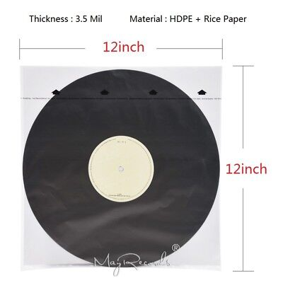 20 HDPE+Rice Paper 3.5 Mil Anti-static Inner Sleeves For 12'' LP Vinyl Record
