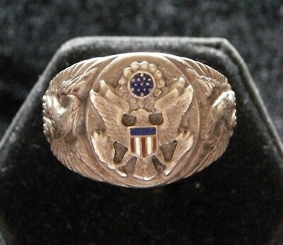 Vintage WWII US Army Eagle Shield Sterling Ring