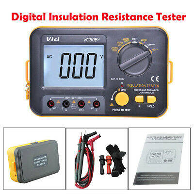 New VC60B+ Digital Insulation Resistance Tester Megger Meter 1000V 0.1~2000MΩ US