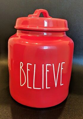 "New - Rae Dunn Christmas Red Canister ""BELIEVE"" - Large Letter"