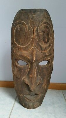 Mask Large Wooden Tribal Man Vintage Hand Made Unique Display Free Standing