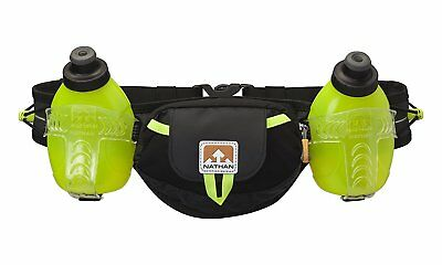 NATHAN Trail Mix Hydration Running Belt, Water Container, Black / Safety Yellow