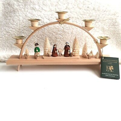 NEW Handmade Wood Nativity Candle Arch Germany Erzgebirge Glasser Christmas 13""