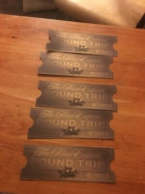 5 Polar Express Train Tickets- Printed Replica Double-Sided on Golden Card Stock