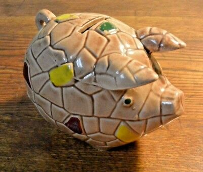Vintage 1950s 60s Piggy Bank - Pig Coin Bank with Tile Design Marked Japan