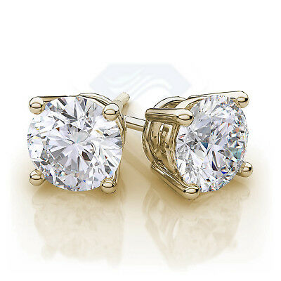 4ct CZ Stud Earrings Brilliant Cut Cubic Zirconia men women 10mm 14K gold plated