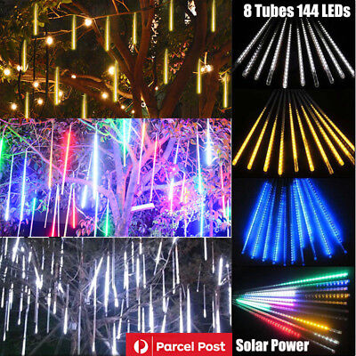 Solar Powered LED Meteor Shower Fairy String Lights Xmas Party Ourdoor Tree Lamp