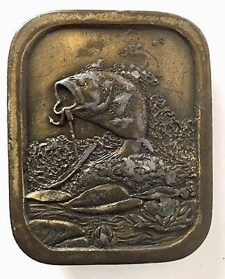 Belt Buckle Mens Bass Fish Indiana Metal Craft 1976 Brass Tone Vintage