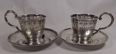 Two Sterling Demitasse Cup & Saucers Watson Co Mass.