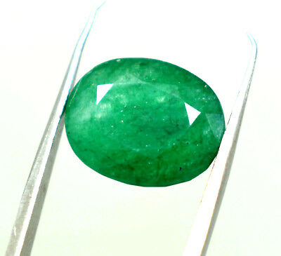 7.05 Ct Natural Ggl Certified Oval Cut Vivid Green Zambia Emerald Gem Panna