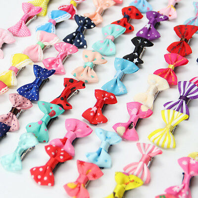 20 PCS Baby Girl's Mixed Colors Ribbon Hair Bow Mini Latch Clips Safe Hair Clip