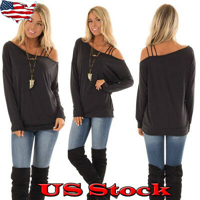 Women Sexy Long Sleeve T Shirt Ladies Off Shoulder Casual Blouse Top Shirts USA