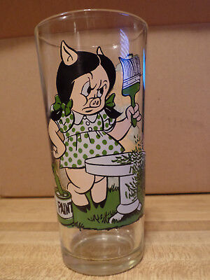 Vintage Porky/Petunia Pig Looney Tunes Pepsi Collector Series Glass 1976